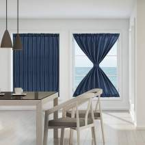 PiccoCasa Sliding Glass Door Curtain Panels - Thermal Insulated Solid Blackout Curtains Drapery 54x72 Inches Front Porch/French Door Window Coverings 2 Panels Navy Blue