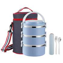 YBOBK HOME Thermal Lunch Box, Stackable Round Metal Stainless Steel Large Hot Food Bento Boxes for Adults, Lunch Container with Insulated Lunch Bag and Flatware with Case for Hot Lunch (3-Tier, Blue)