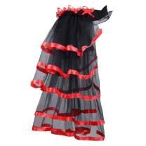 Abourbay Women's Victorian Steampunk Tutu Bustle Skirt Halloween Costume Tulle Lace Underskirt