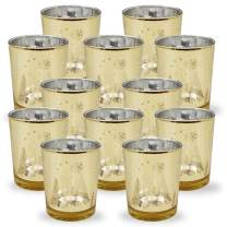 Just Artifacts Christmas Metallic Votive Candle Holder 2.75-Inch - Gold Winter Wonderland (Set of 12) - Glass Votive Candle Holders for Weddings and Home Décor