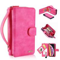 """iPhone X/Xs Case, [Magnetic Detachable] Wallet PU Leather Mirror Case Protective Removable Flip Folio Cover Zipper Purse Clutch Handbag with 11 Card Holder Slot for iPhone X/Xs 5.8"""" - Pink"""