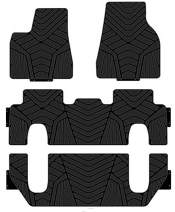 kaungka Heavy Rubber Car Front Floor Mats Compatible with 2017 2018 Tesla Model X 6 Seater - 2nd Row Seat Without Middle Console -All Weather and Season Protection Car Carpet