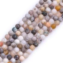 GEM-Inside Natural 4mm Gray Leaf Agate Frosted Matte Unpolished Round Spacer Beads for Jewelry Making Strand 15 inch