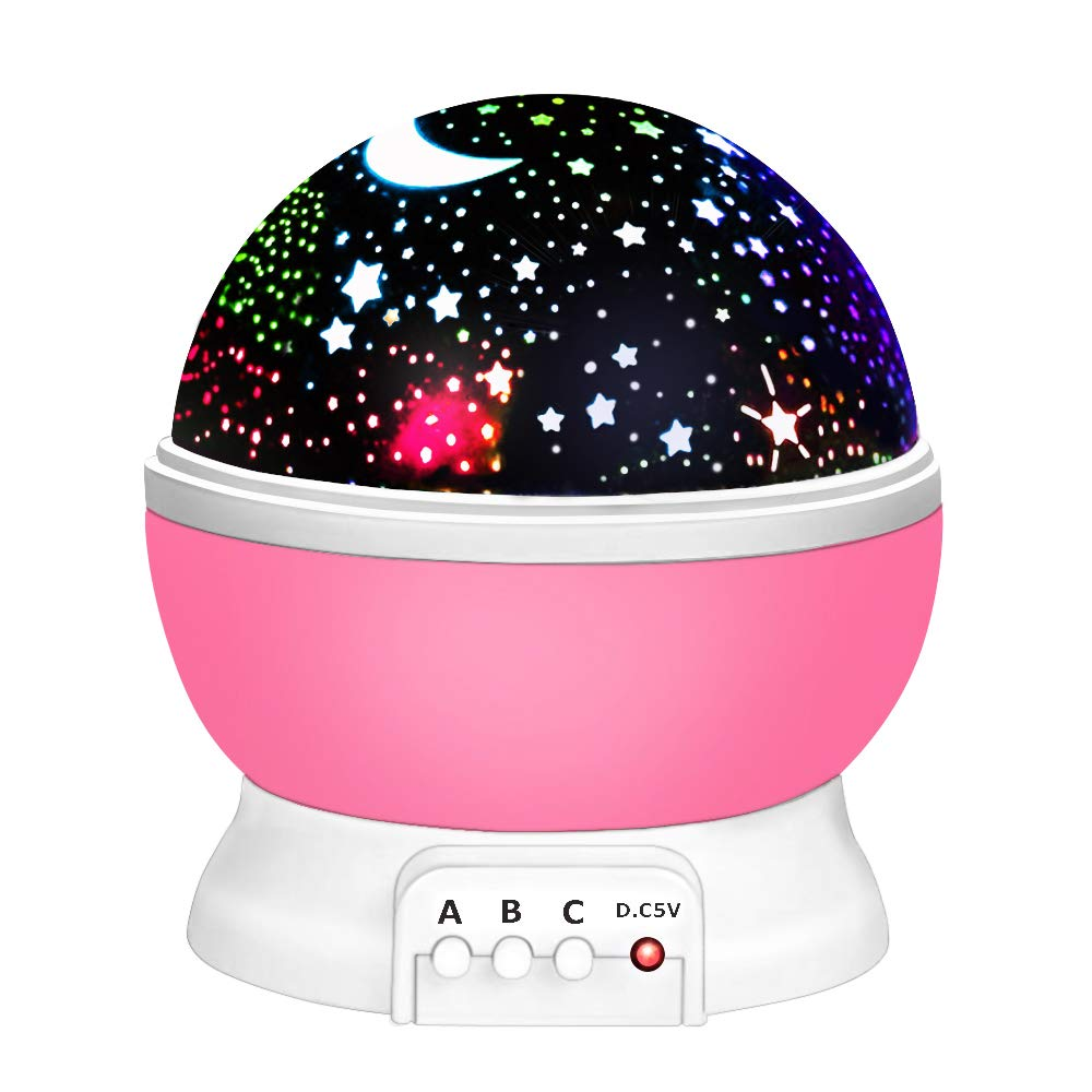 Toys for 2-12 Year Old Boys, Our day Night Light Moon Star Projector Best Easter Gifts for Kids 2-12 Year Old Girls Gifts New Toys 2019 for Girls Boys Pink ODUSXK09