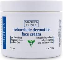 Seborrheic Dermatitis Cream with Manuka Honey, Coconut Oil and Aloe Vera - Moisturizing Face and Body Anti Itch Cream and Skin Treatment for Sensitive Skin - Natural & Organic Cream (4 oz)