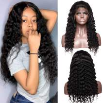 S-noilite Deep Wave Curly 360 Lace Frontal Wig Pre Plucked With Baby Hair 100% Brazilian Human Hair Lace Front Wig For Black Women 14inch 1B Black 130% Density