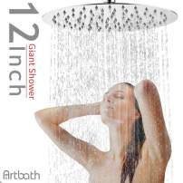 Artbath 12 inch Rain Shower Head Extra Large Fixed Mount Rainfall Shower Head Ultra Thin Stainless Steel Showerhead