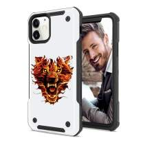 SOKAD iPhone 11 Case Embossed Fire Lion Soft TPU Matte Frosted and Hard PC Dual Layer Protection Shockproof Case Cover for iPhone 11 (6.1 Inch)