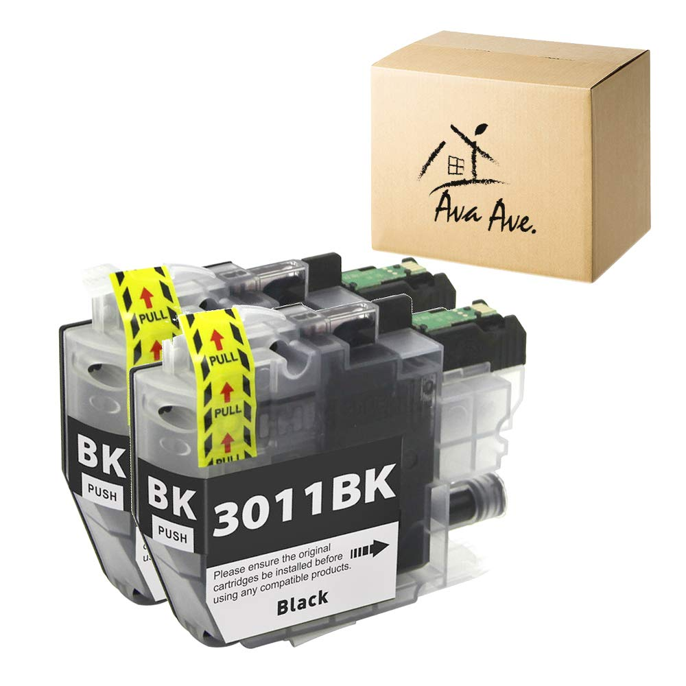 Ava Ave LC3011 Compatible Ink Cartridge Replacement for Brother LC3011 Black Ink Cartridges with Upgraded Chips High Yield use in MFC-J491DW MFC-J690DW MFC-J497DW MFC-J895DW Printer (2 Black, 2Pack)