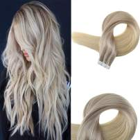 Easyouth Tape in Hair Extensions 18 Inch 40g 20Pcs per Package Color Ash Blonde Fading to 24 Highlight with 60 Blonde Skin Weft Professional Hair Extensions Hair Tape Extension