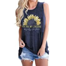 Women Sunflower Workout Tank Tops You are My Sunshine Graphic Holiday Sleeveless Shirt Tee
