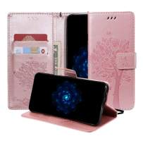 MEUPZZK Moto G6 Wallet Case, Floral Flower Tree & Cat Embossed Flip PU Leather Kickstand Case with Card Holders, Magnetic Closure, Wrist Strap, Protective Cover for Motorola Moto G6 Rose Gold