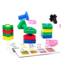 Nuts and Bolts Fine Motor Skills OCT Toddler Therapy Toys - Montessori Building Construction Kids Matching Game for Pre k - Jumbo 24 pc Set with Backpack. Juguetes para niños niñas de 1 2 3 4 años