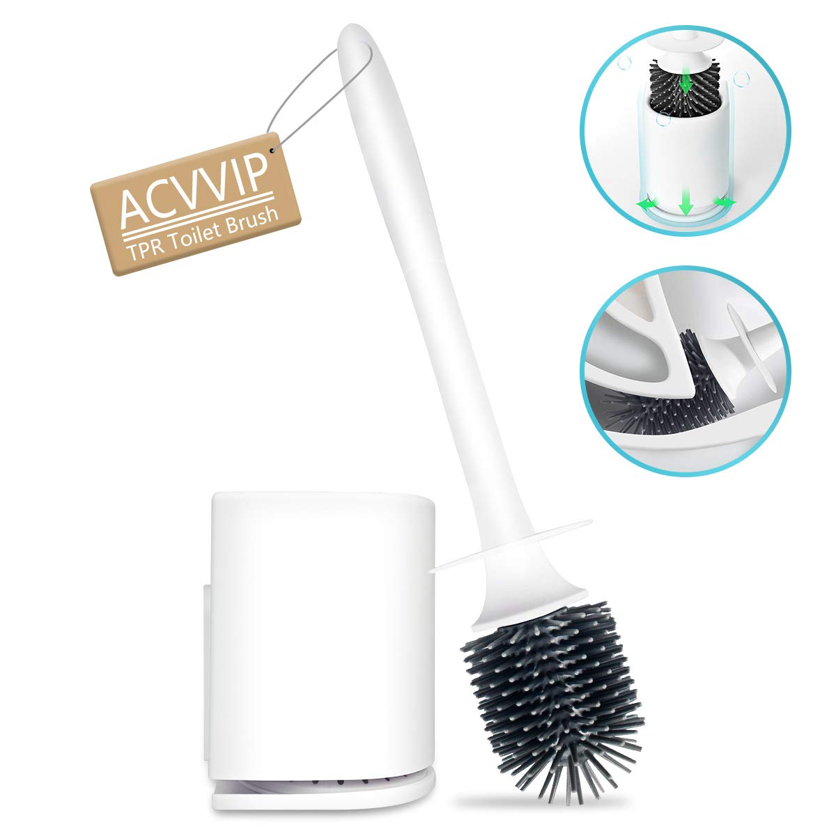 ACVVIP Toilet Brush and Holder, TPR Toilet Bowl Brush with Ventilation Holder for Bathroom Toilet Cleaning - Premium, Long Life Span, Good Grips, Sturdy, Deep Cleaning, Covered Brush (White)