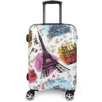 NEWCOM Teens Luggage 24 Inch Lightweight Spinner Wheels Eiffel Hard Shell Upright Suitcase TSA lock France Paris Print Graffiti ABS+PC