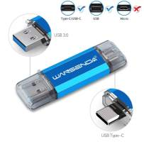 OTG Type C USB Flash Drive 2 in 1 USB Memory Stick USB 3.0/3.1 Pen Drive for Android Devices/PC/Mac (32GB, Blue)