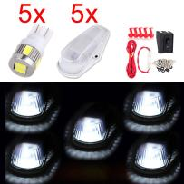 cciyu 5 Pack Clear Roof Running Light Cab Marker Cover + Xenon White T10 6SMD LED Bulb w/Base + 1 Set Wiring Pack Switch Assembly Wire Harness Replacement fit for Truck 4x4