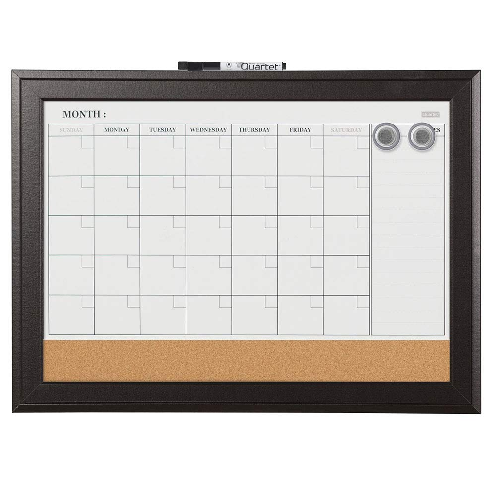"Quartet Combination Magnetic Whiteboard Calendar & Corkboard, 17"" x 23"" Combo Dry Erase White Board & Cork Bulletin Board, Perfect for Office, Home School Message Board, Black Frame (79275)"