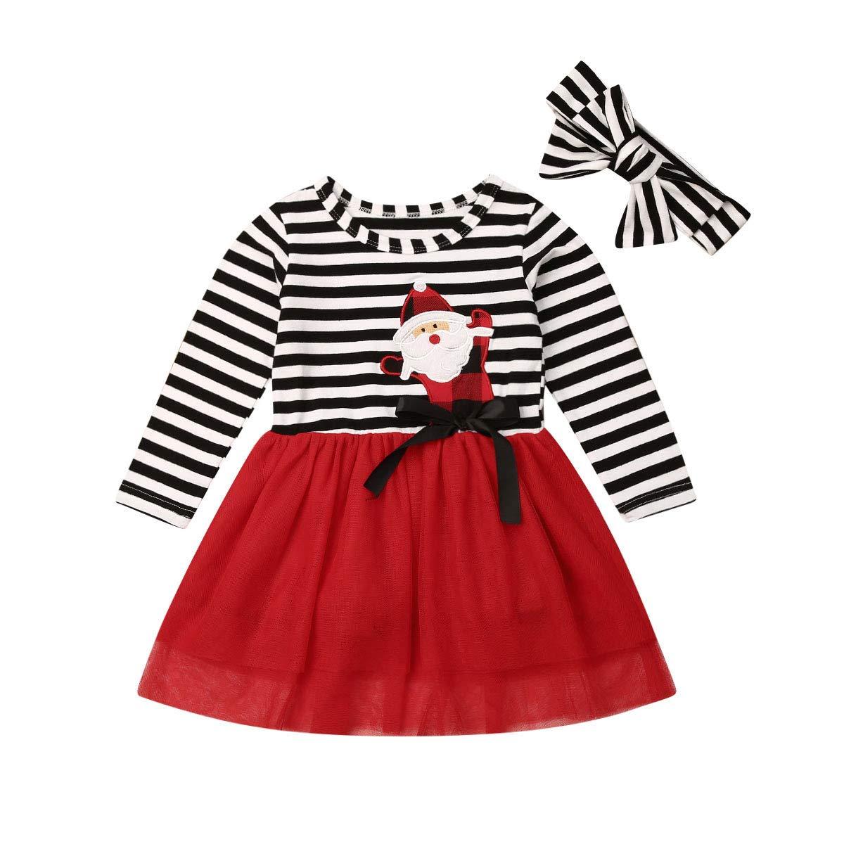 VISGOGO Toddler Kids Baby Girls Long Sleeve Tulle Stripe Dress for Halloween Christmas Thanksgiving