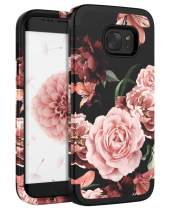 SKYLMW Case of Galaxy S6 Edge,Three Layer Flexible Silicone & Hard Plastic Shockproof Protective Anti-Fingerprint Protection Cover with Flower Design for Galaxy S6 Edge, Rose Flowers