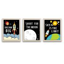 """HPNIUB Framed Outer Space Art Print Set of 3 (10""""X8"""")-Ready to Hang Cartoon Planet with Stars Rocket Wall Poster,Inspirational Quotes Canvas Artwork for Boys Bedroom Classroom"""