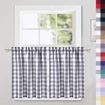 CAROMIO Cafe Curtains 30 Inch Length, Buffalo Plaid Gingham Pattern Rod Pocket Half Window Curtains for Kitchen Bathroom Window Curtain, Grey