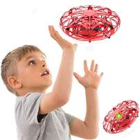 Flying Ball Toys Hand Controlled Mini Drone Levitation UFO Drone Hand Operated Quad Induction LED Light for Kids Boys and Girls (Red)