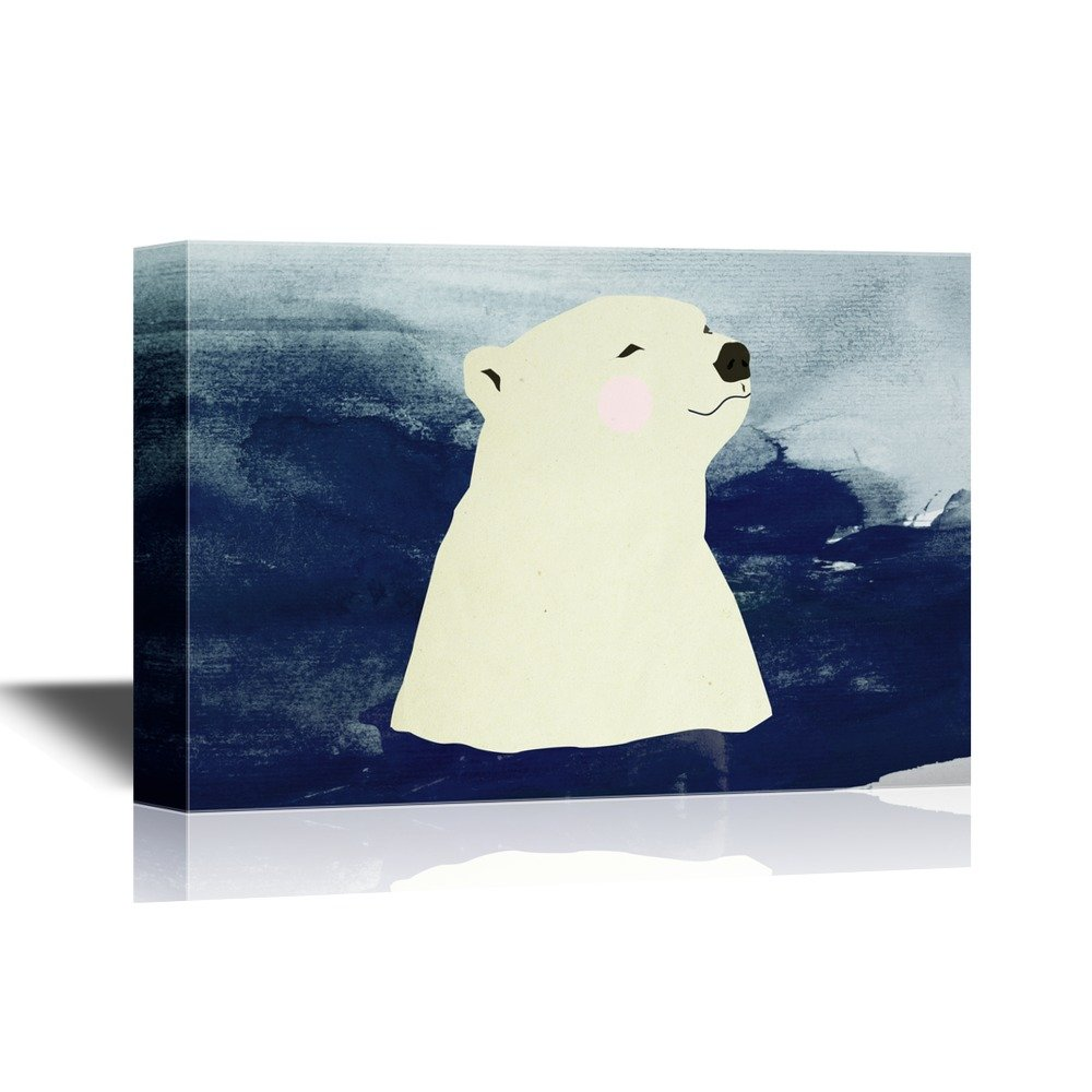 wall26 - Hand Drawing Style Animal Canvas Wall Art - Polar Bear Swimming in The Sea - Gallery Wrap Modern Home Decor | Ready to Hang - 24x36 inches