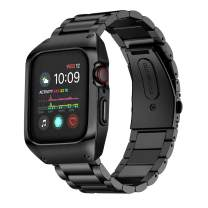 EloBeth Compatible with Apple Watch Band 42mm Series 3 with Case, Stainless Steel iWatch 42mm Bands with Protective Cover for Apple Watch Series 3 (Black, 42mm)