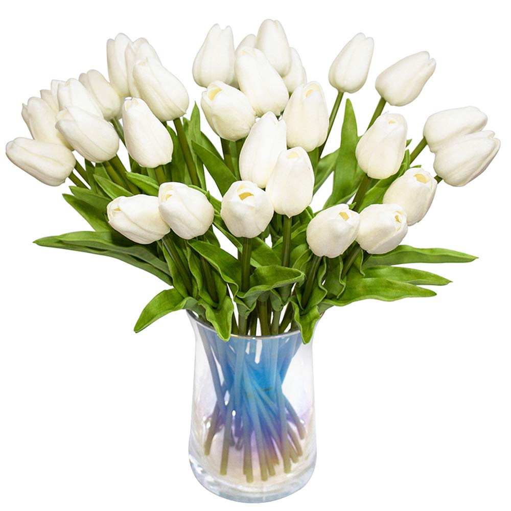 JOEJISN 30pcs Artificial Tulips Flowers Real Touch Tulips Fake Holland PU Tulip Bouquet Latex Flower White Tulip for Wedding Party Office Home Kitchen Decoration (Pure White)