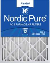 Nordic Pure 16x20x4 (3-5/8 Actual Depth) MERV 12 Pleated AC Furnace Filter, Box of 1