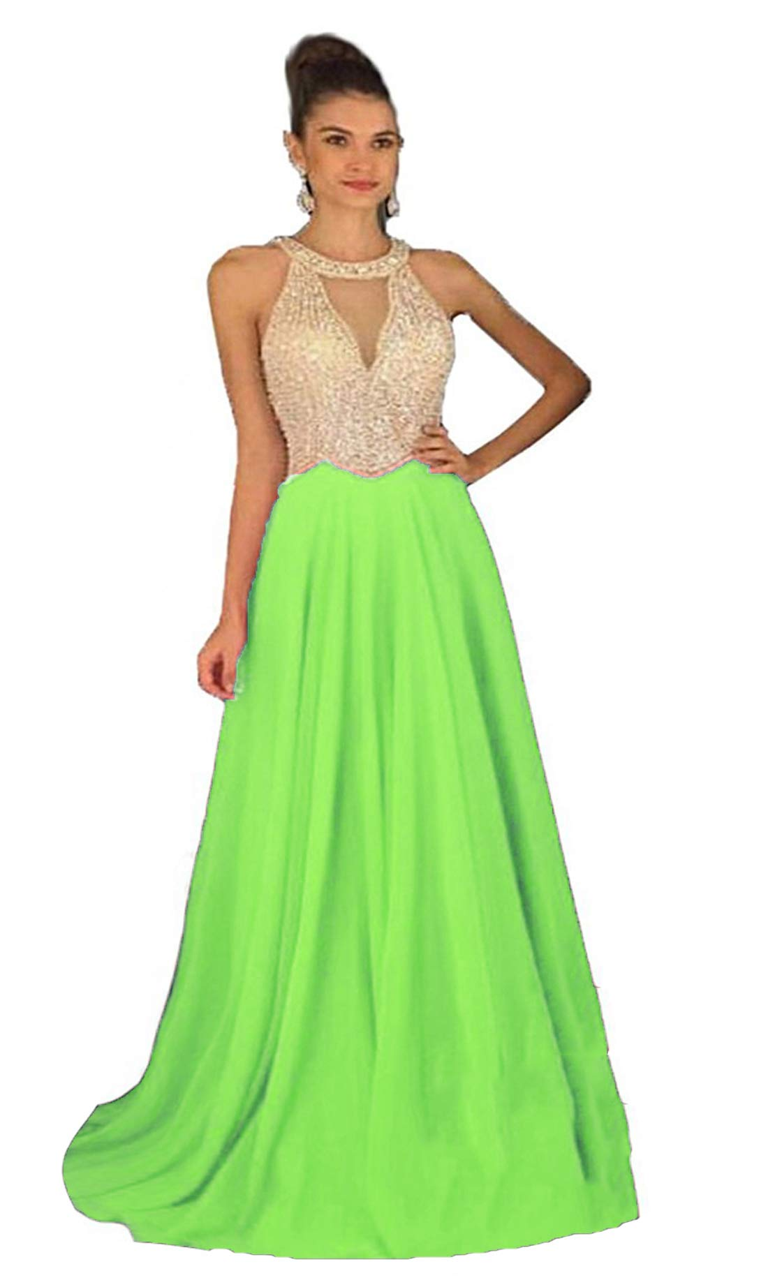 Fanciest Women's Crystal Beaded Prom Dresses 2020 Long Evening Gowns Formal Lime Green US6