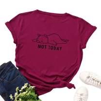 iNewbetter Women Casual Cotton Round Neck Cute Cat Short Sleeve Graphic T-Shirt Top Tees