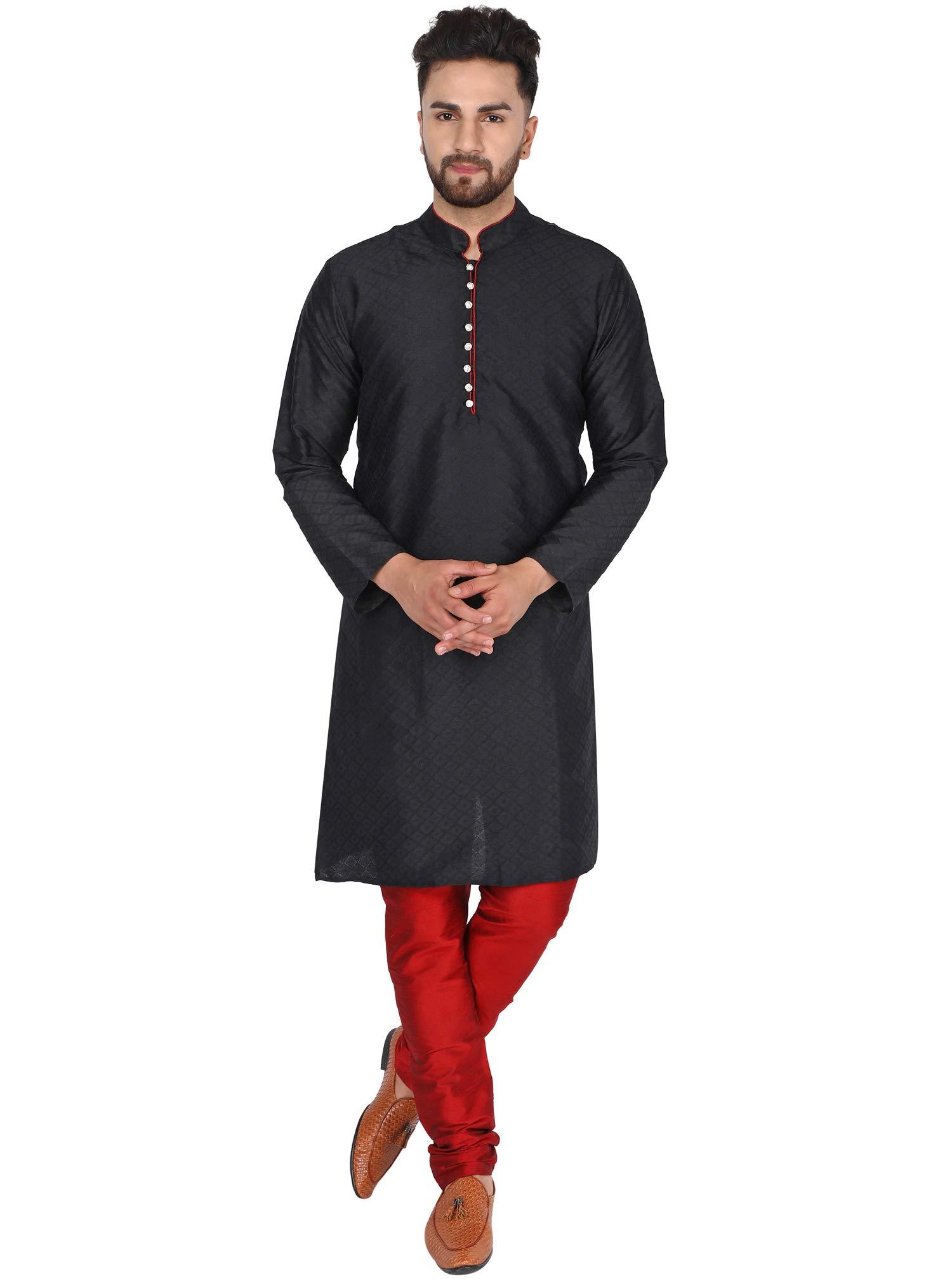 SKAVIJ Men's Art Silk Holi Kurta Pajama Set Indian Wedding Party Dress