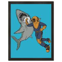 Sharp Shirter Funny Shark Poster Retro Decor Beach Theme Fish Art Print Underwater Wall Hanging Blue 8 x 10 18 x 24
