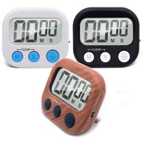 Digital Kitchen Timer, MEPOTI 3 Pack Different Colors Cooking Timer, Big Digits, Large Display, Magnet Backing Stand, Loud Alarm, Perfect for Cooking Baking Sports Games Office