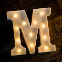 Foaky LED Letter Lights Sign Light Up Letters Sign for Night Light Wedding Birthday Party Battery Powered Christmas Lamp Home Bar Decoration (M Sign)