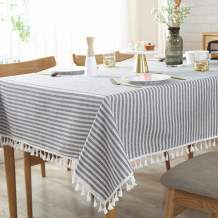 AMZALI Stripe Tassel Tablecloth Cotton Linen Stain Resistant/Dust-Proof Waterproof Table Cover for Kitchen Dinning Tabletop Decoration (Rectangle/Oblong,55 x 87 Inch, Blue)