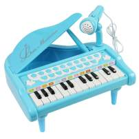 Conomus Piano Keyboard Toy for Kids,1 2 3 4 Year Old Girls First Birthday Gift , 24 Keys Multifunctional Musical Electronic Toy Piano for Toddlers (Blue)