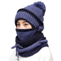 3 in 1 Warm Thick Knitted Beanie Hat Scarf and Mask Set Slouchy Snow Knit Cap Infinity Scarves for Women