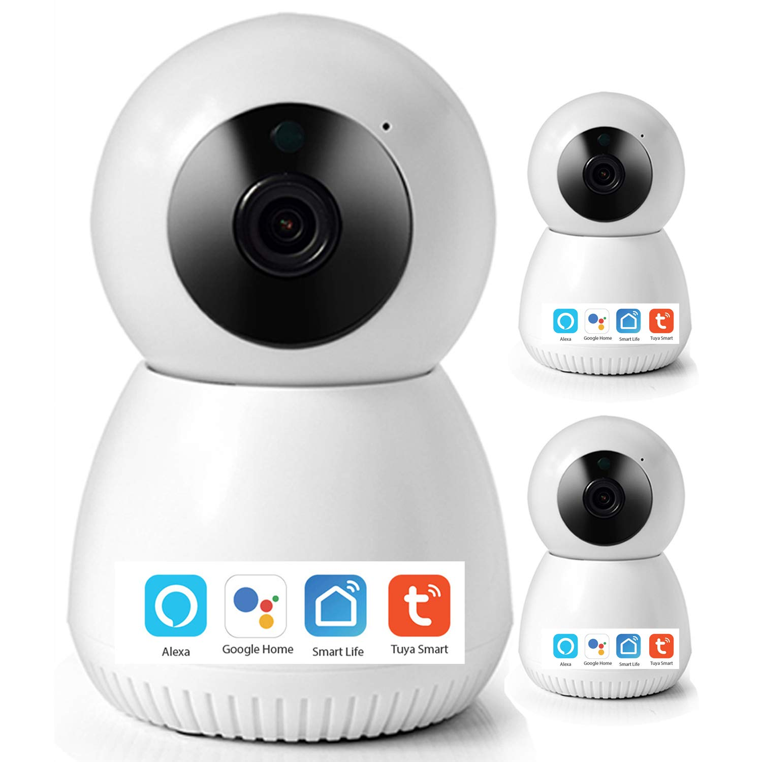 1080P Wireless Emergency Surveillance Camera Night Vision Smart Home Security Camera 2MP 2-Way Audio Motion Detection WiFi Baby Monitor Camera Works with Echo, Google Home Hub, Phone App(A, 3 Pack)