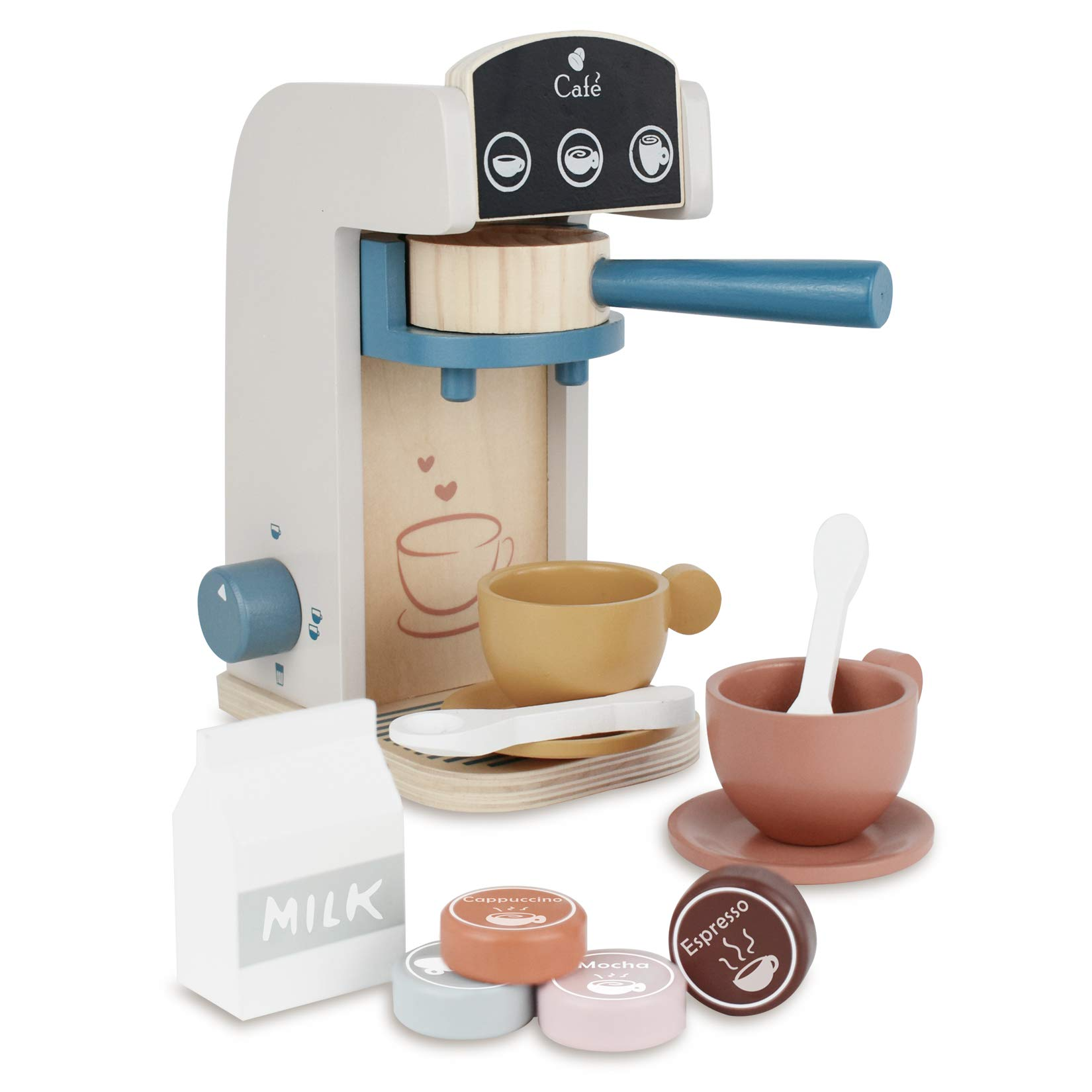 PairPear Coffee Maker Espresso Playset - Wooden Deluxe Play Kitchen Set with Accessories 13 Pieces Multicolor