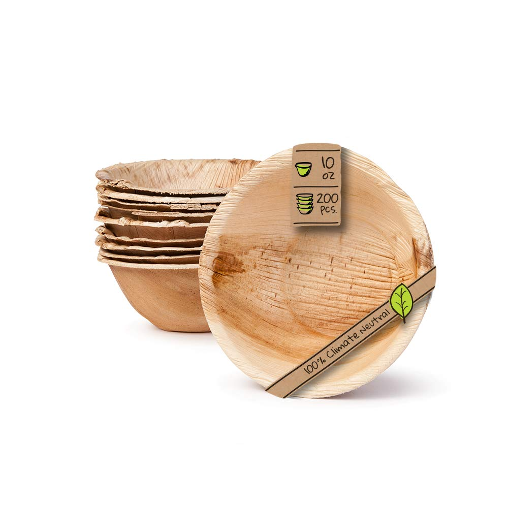 """Naturally Chic Palm Leaf Compostable Bowls 
