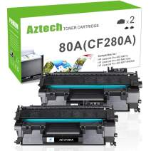 Aztech Compatible Toner Cartridge Replacement for HP Laserjet 80A CF280A 80X CF280X Laserjet Pro 400 M401A M401D M401N M401DNE MFP M425DN (Black, 2-Pack)