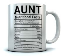 Gifts for Aunt Nutritional Facts Label Funny Coffee Mug for Aunt, Mother's Day/Birthday/Christmas Gifts For Aunt - Funny Aunt Tea Cup For Home/Office Aunt Gag Ceramic Mug 15 Oz. White