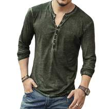 Mens Casual V-Neck Button Cuffs Cardigan Long Sleeve Henley T Shirts