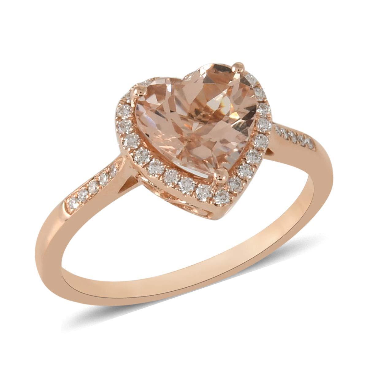 ILIANA 18K Rose Gold Premium AAA Morganite Diamond Halo Ring Jewelry Gift for Women Ct 2 G-H Color SI1