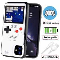 POKPOW Handheld Game Console Phone Case for iPhone 11 Pro Case with Built in 36 Retro Games Compatible with iPhone 11 Pro Anti-Scratch Shock Absorption Cover (White)