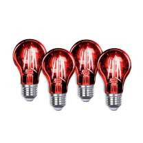 Led Light Bulb Bulb Edison LED A19 3.5 Watt E26 Medium Base 27,000 Hour Lifespan Clear Glass Lights up Red Saving Energy Dimmable 4 Pack (Red 4pack)