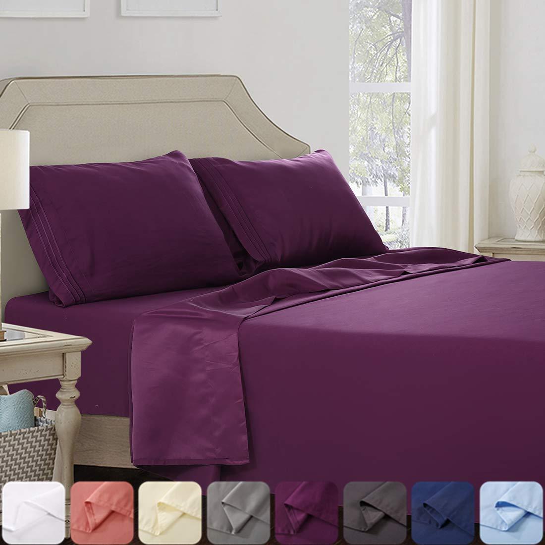 Abakan Full Bed Sheet Set 4 Piece Super Soft Brushed Microfiber 1800TC Hotel Luxury Premium Cooling Sheet Breathable, Wrinkle, Fade Resistant Deep Pocket Bedding Sheet Set (Full, Purple)